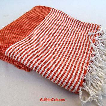 Turkish super soft cotton burnt orange colour striped light weight bath towel, beach towel, sauna towel, throw blanket.