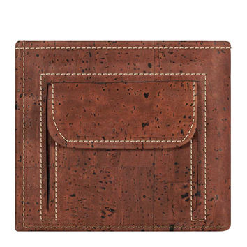 Cork Men's Wallet with Coins Pocket Red