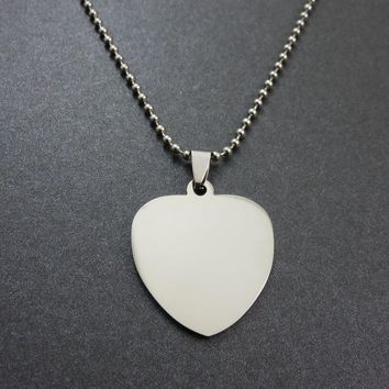 3Colors Two Sides Polished 316L Stainless Steel Love Heart Dog Tags Pendant Stainless Steel Dog Tags Necklace Fashion Jewelry