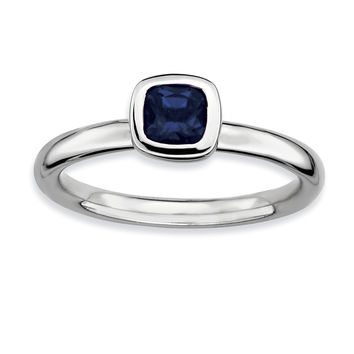 Sterling Silver Stackable Expressions Cushion Cut Cr. Sapphire Ring