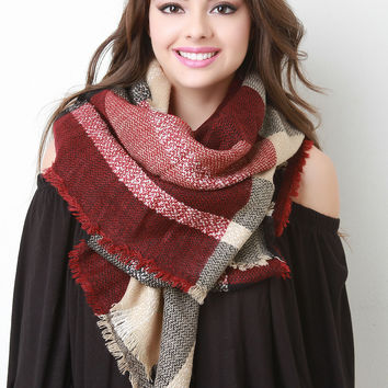 Check Square Frayed Scarf
