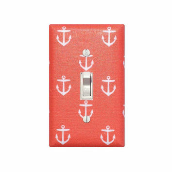 Anchor Light Switch Plate Cover / Nautical Nursery Decor / Dark Coral Salmon Girls Room / Out to Sea Slightly Smitten Kitten