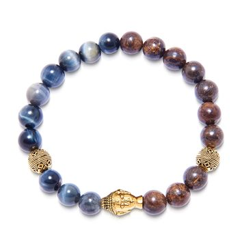 Men's Wristband with Blue Tiger Eye and Ebony with Gold Buddha