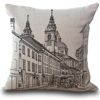 Factory Supply 2016 New Throw Pillows Black And White Building Linen Cotton Square Decorative Cushion For Home Chair
