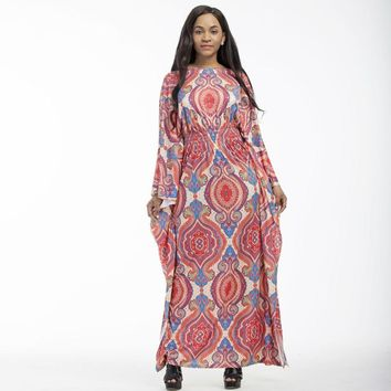 Lovely Fall/Winter Bohemian Long Batwing Sleeve Maxi Dress  (Sizes  US 12/14 to 1US6/18)