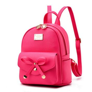 Girls bookbag Bow-tie front pocket PU leather backpacks solid color women backpacking packs socialite style bookbags for girls AT_52_3