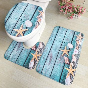 DINIWELL Sea Star Printing Toilet Mat Set 3PC Floor Rugs Cushion Toilet Seat Cover