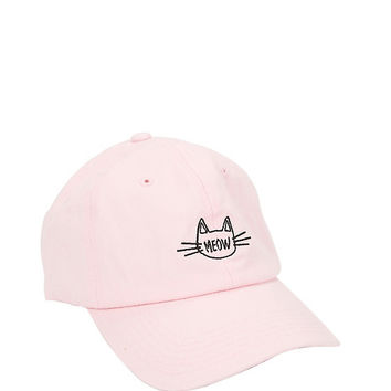 Pink Cat Meow Dad Cap
