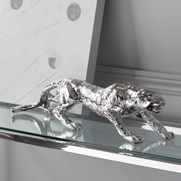 """Prowling 23 1/2"""" Wide Silver Mirror Leopard Table Sculpture - #3Y264 