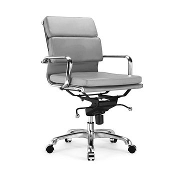 Century Grey Padded Modern Classic Aluminum Office Chair (Set of 2)