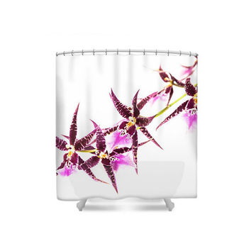 Floral Shower Curtain, Purple Pink White Orchids Shower Curtain, Botanical Bathroom Decor, Bath Curtain, Orchid Shower Curtain, Pink Decor