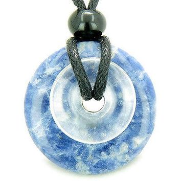 Astrological Sagittarius Amulet Double Lucky Donuts Sodalite and Rock Crystal Qu