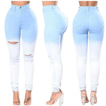 fashion pencil pants women washed sexy Jeans Women Stretch high Waist Skinny hole ripped gradual change Jeans blue to white 3XL