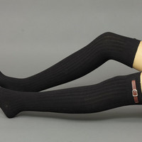 Thigh high buckle sock - buckle Socks,Angora sock, knee socks,black color, boot socks -leg-warmers
