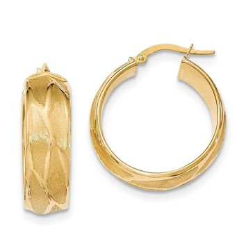 14K Yellow Gold Textured Large Round Hoop Earrings