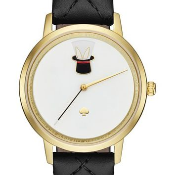kate spade new york metro magic hat leather strap watch, 34mm | Nordstrom