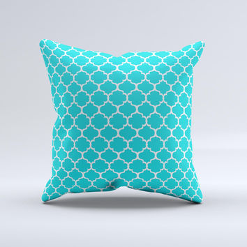 Teal And White Seamless Morocan Pattern  Ink-Fuzed Decorative Throw Pillow