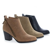 Avenge01M Taupe By Bamboo, Zip Up Almond Toe High Chunky Heel Ankle Boots