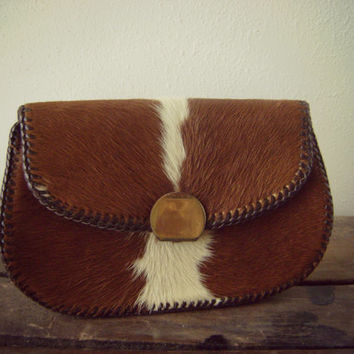 Horse Hair Leather 70s Clutch Vintage Handmade Handbag Hippie Purse Boho Handbag Animal Print Bag Western Small Clutch Horse Hair Handbag