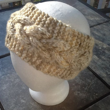 Chunky Cable Knit Headband, ear warmer, in cream and brown flecked acrylic yarn,  fleece lined option, warm headband, neutral color wrap