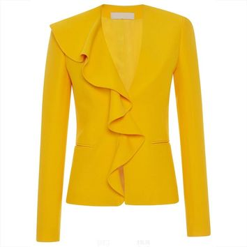 Women Office Jacket 2018 Autumn Yellow V Neck Casual Classic Work Wear Ruffle Pocket Hidden Button Coats Lady Elegant Jacket