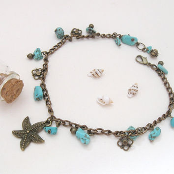 Turquoise brass anklet with marine bronze starfish