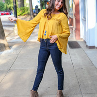 Boho Cut-Out Top in Mustard