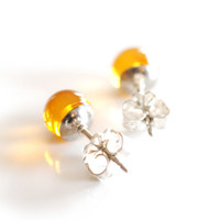 6mm golden amber studs with solid sterling silver posts , small orange gemstone ball stud earrings great to wear as everyday earrings