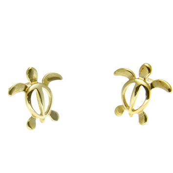14K SOLID YELLOW GOLD HAWAIIAN BABY HONU SEA TURTLE STUD POST EARRINGS