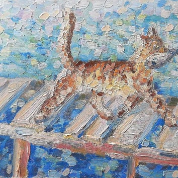 Tabby Cat catch Fish Abstract Oil Painting Ginger Red Cat Funny Art Pet Picture Living room Wall Decor Pastel Colors Palette knife Artwork