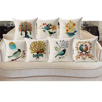 Pillow Case Beautiful Flower and Bird Cotton Linen Pillowcase For Bedroom Chair Seat Throw Pillowcase Pillow Cover