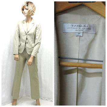 90s designer career suit XS Tahari by Arthur Levine tailored business pant suit neutral beige two piece power suit SunnyBohoVintage