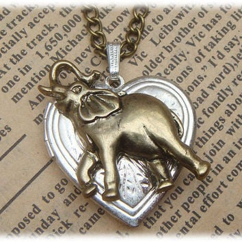 Steampunk Elephant Locket Necklace Vintage Style Original Design