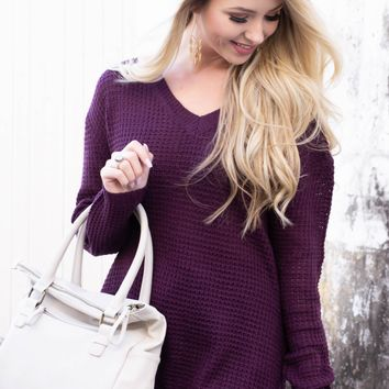 Winter Knit Sheer Sweater | Purple
