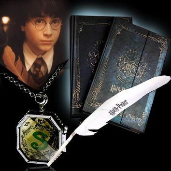 Stationery Set Hard Cover For Potterhead Harry Potter Notebook Book With Feather Pen&Pendant Vintage Retro Diary Magnet Magical