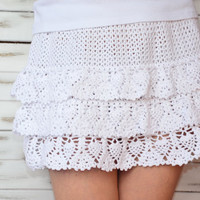 Beach crochet skirt, summer white skirt, short crochet skirt, crochet lace mini skirt, boho beach skirt