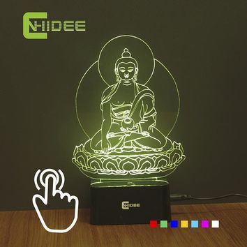 Children's Bedroom Night Light 7 Colors RGB USB Lamp Buddha Statue 3D Led Lampara Home Lighting Desk Table Decor Nightlight