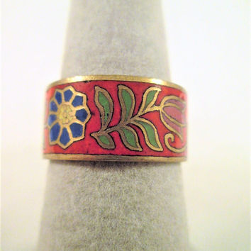 Red Enamel Floral Cloisonne Ring Size 7.75 Gold Gilt Marked Siam 1940's Vintage Jewelry Gift