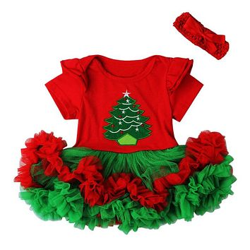 Baby Grils Dress Christmas Style Princess Dresses Fashion Kids Clothes Lace Bow Floral Design for Baby Girls Dress with Headband