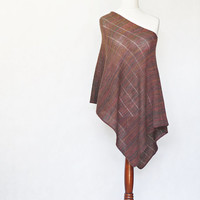 Knit poncho, brown poncho, brown scarf, brown cape,women poncho,knit shawl,knit cape,knit scarf,knit capelet,knitted machine,modern clothing