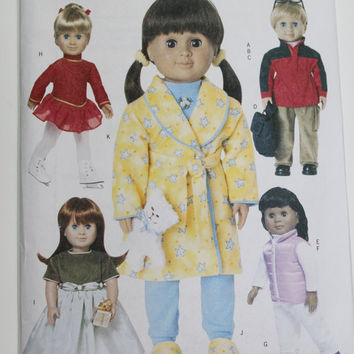 Butterick doll dress pattern American Girl 18 inch  new uncut robe pajamas slipers jacket backpack dress pants skating dress vest