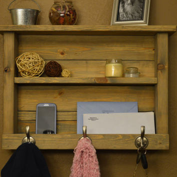 Country Rustic Wood Entryway Hall Foyer organizer Keys Phone Mail Holder Coat Hat Rack Hooks With Shelf