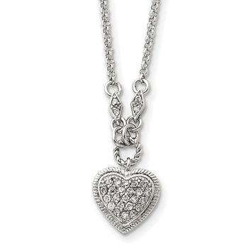 Sterling Silver CZ Heart Necklace QG2594