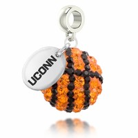 Connecticut Huskies UCONN Basketball Drop Charm Fits Pandora Style Bracelets. UCONN Jewelry