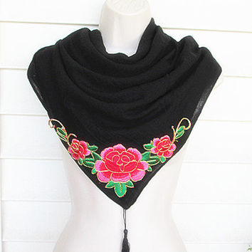 Black Scarf, Womens Scarf, Fashion Scarf, Long Scarf with large embroidered Flower.
