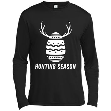 Hunting Season Cute Easter T-Shirt With Easter Egg Antlers Long Sleeve Moisture Absorbing Shirt