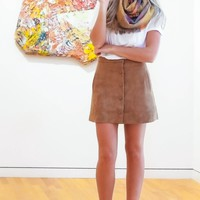 Easily Suede Skirt-Camel