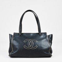 Chanel Black & Beige Caviar Leather 'CC' Stitched Top Handle Tote