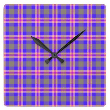TARTAN PURPLE SQUARE WALL CLOCK