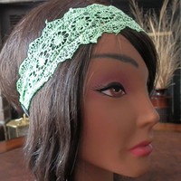 Bohemian Flower Lace Headband, Lace head wrap, Hippie Headband, Boho Headbands, Crochet LACE head band, Mint, Elastica back headband